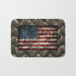 Digital Camo Patriotic Chevrons American Flag Bath Mat