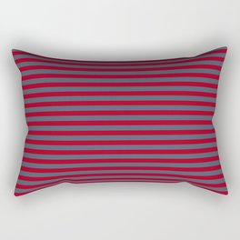 Red and Navy Blue Vintage Stripes Rectangular Pillow