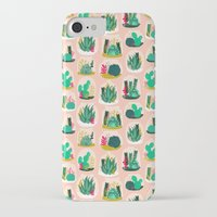 garden iPhone & iPod Cases featuring Terrariums - Cute little planters for succulents in repeat pattern by Andrea Lauren by Andrea Lauren Design