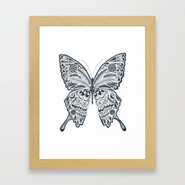 Blue Butterfly Mandala Framed Art Print