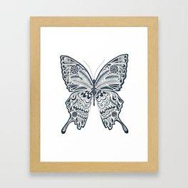 Blue Butterfly Mandala Framed Art Print