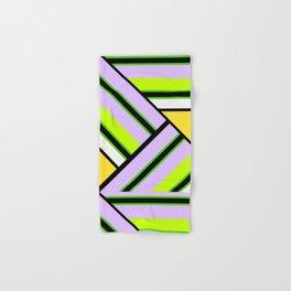 Striped , multi-colored , asymmetric combination pattern . Patchwork . Hand & Bath Towel
