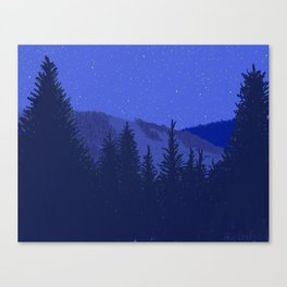 Conifers and Night Sky Canvas Print