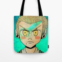 dangan ronpa Tote Bags featuring Fuyuhiko by Agui-chan