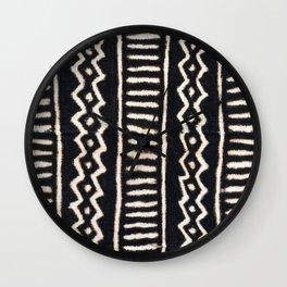 African Vintage Mali Mud Cloth Print Wall Clock