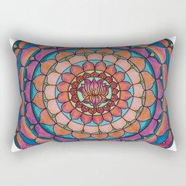 Brilliant Lotus Mandala Colored Pencil Illustration by Imaginarium Creative Studios Rectangular Pillow