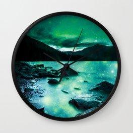 Magical Mountain Lake Teal Green Wall Clock