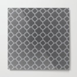 Grey Trellis Metal Print