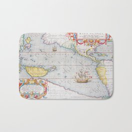 Vintage Map of The Pacific Ocean (1595) Bath Mat