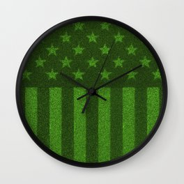 The grass and stripes / 3D render of USA flag grown from grass Wall Clock