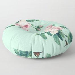 Roses Mint Green + Pink Floor Pillow