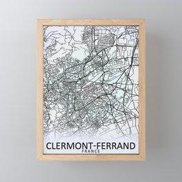 Clermont-Ferrand, France, White, City, Map Framed Mini Art Print