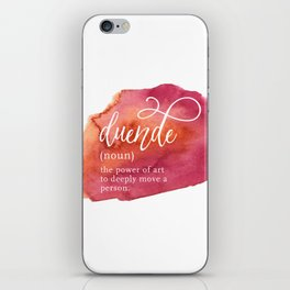 Duende Word Nerd Definition - Pink Watercolor iPhone Skin
