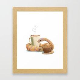 Banana snake, banana muffin, and chai latte Framed Art Print