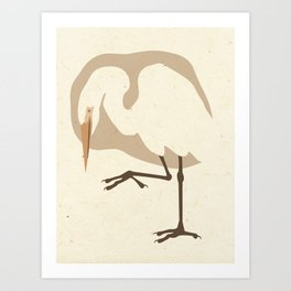 Egret on Mulberry Art Print