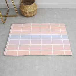 watercolor blue pink background with white horizontal vertical lines pattern Rug