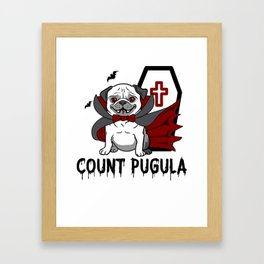Count Pugula Halloween for Pug Owners Dog Lovers Light Framed Art Print