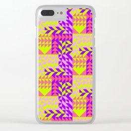 Geometrical abstract pink lilac neon yellow triangles pattern Clear iPhone Case