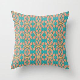 Southwestern Orange Turquoise Pattern Throw Pillow