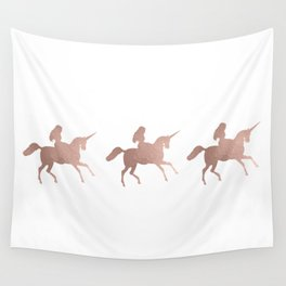 Rose gold unicorn Wall Tapestry