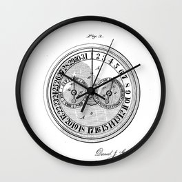 Calendar Clock Vintage Patent Hand Drawing Wall Clock