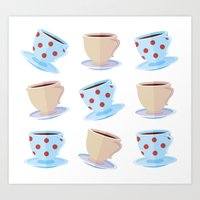 Dotted cups pattern Art Print