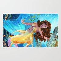 hawaiian Area & Throw Rugs featuring Hawaiian Mermaid by Daunt