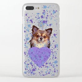Watercolor Ultra Violet Splattering Dog Lovers Clear iPhone Case