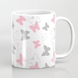 Pink Gray Butterfly Coffee Mug