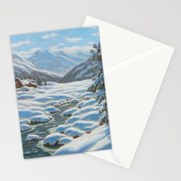 CHOULTSÉ, IVAN FEDEROVICH (St. Petersburg 1874 - 1939 Nice) Snowy winter landscape in the mountains Stationery Cards