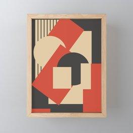 Geometrical abstract art deco mash-up scarlet beige Framed Mini Art Print