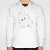 pomeranian Hoodies featuring White Pomeranian by Pati Designs & Photography