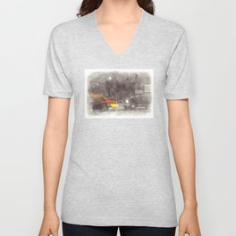 NYC Yellow Cabs Movie - SKETCH Unisex V-Neck