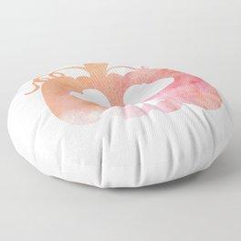 Halloween Watercolor Pumpkin Face Orange & Pink 2 Floor Pillow