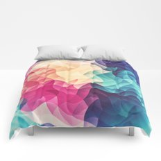 Geometry Triangle Wave Multicolor Mosaic Pattern - (HDR - Low Poly Art) Comforters
