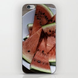 Flat lay of  watermelon on the wooden surface iPhone Skin
