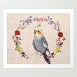 Cockatiel Wreath Art Print