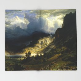 Albert Bierstadt - A Storm in the Rocky Mountains, Mt. Rosalie Throw Blanket