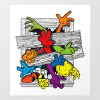 cartoons Art Prints featuring Cartoons Attack by luis pippi