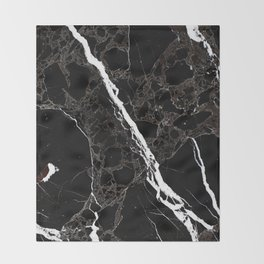 Abstract black white gray modern marble Throw Blanket