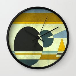Sailing on the Sea, Geometric Gold and Blue Wall Clock