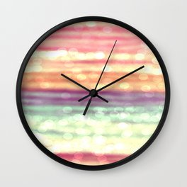 Whimsical Pastel Bokeh Stripes Wall Clock