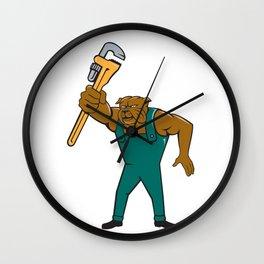 Bulldog Plumber Monkey Wrench Isolated Cartoon Wall Clock