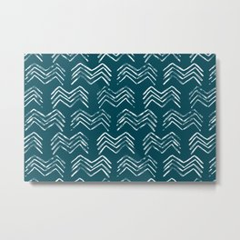 Tropical Dark Teal Inspired by Sherwin Williams 2020 Trending Color Oceanside SW6496 Tribal Chevron Pattern Metal Print