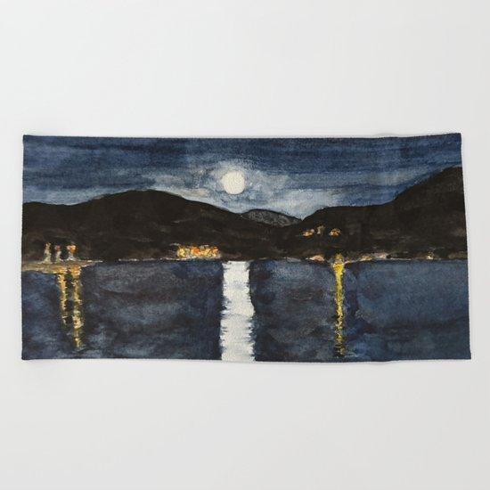 full moon by the sea Beach Towel
