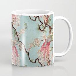 Vintage green coral pink floral elegant peacock bird Coffee Mug