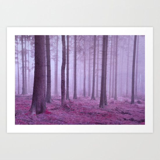 misty trees Art Print