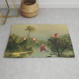 Spoonbills in the Mist Rug