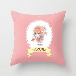Sakura kawaii Throw Pillow
