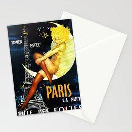 Vintage Paris La Nuit Ville Des Folies Eiffel Tower and Moon Advertising Poster Stationery Cards
